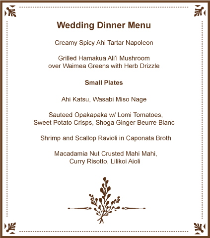 Wedding dinner menu Wedding reception and fun party food - catering menu template free