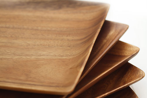 """Acacia Wood Square Dinner Plate 1"""" x 8"""" x 8"""""""