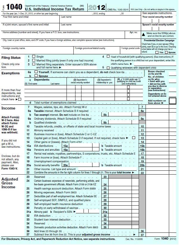 Form 1040a Us Individual Income Tax Return 2014 ...