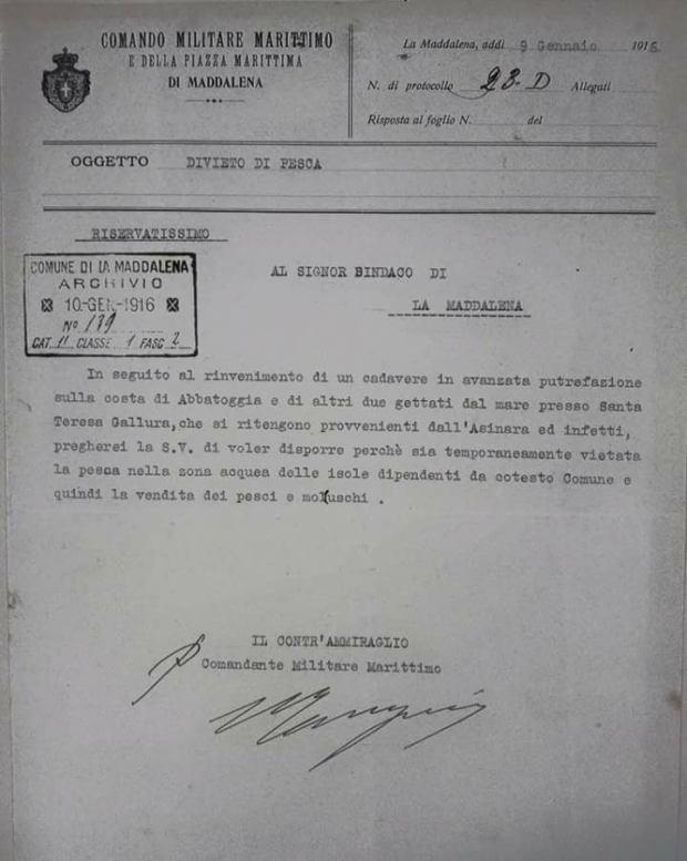 Comunicazione riservatissima al Sindaco del Comune di La Maddalena 09 gennaio 2016