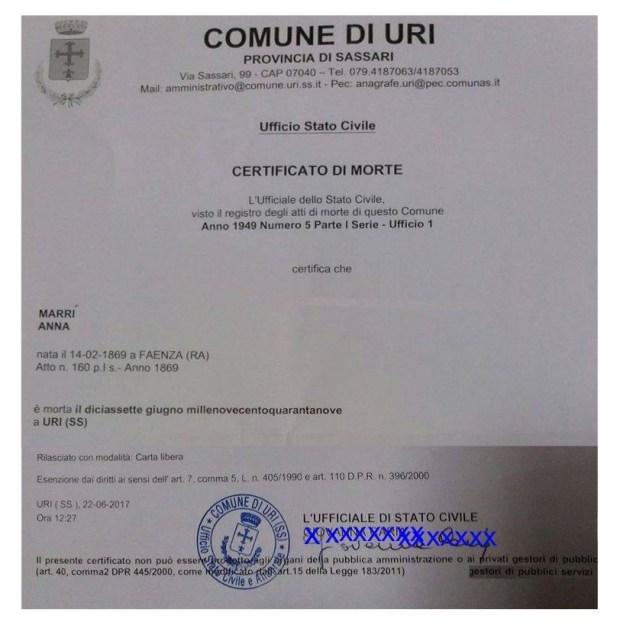 Il certificato rilasciato dal Comune di Uri. (Archivio Leonardo Delogu)