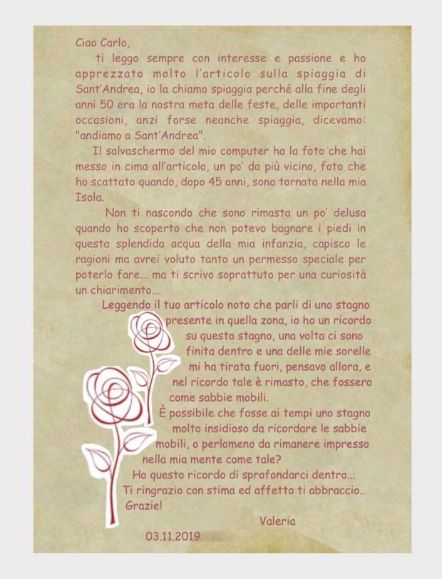 Lettera di Valeria