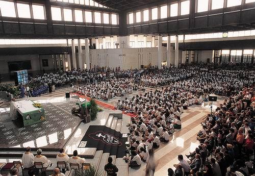 I partecipanti alla Tendopoli al Santuario