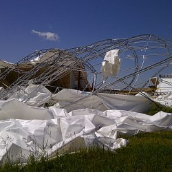BASI Airdock heavily damaged by windstorm.