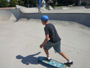 Jeremy received a long board for his birthday and spent several happy hours at the skate park in Ludington.