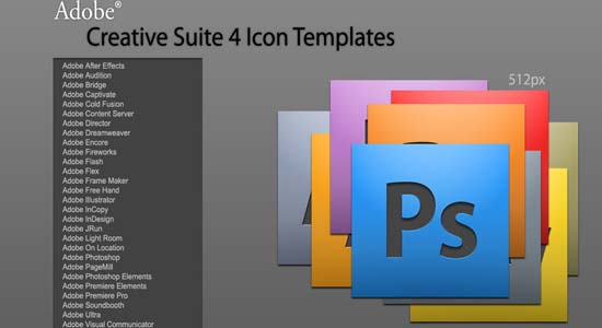 Adobe CS4 Icon Templates