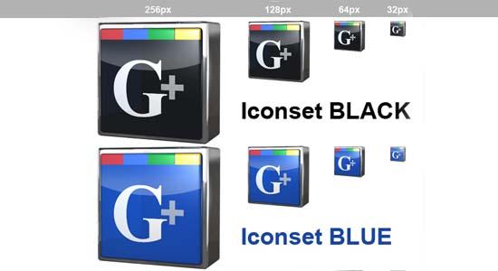 Google + Free iconset in 3D Optik