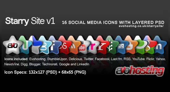Starry Site NEW 16 Social Media Icons