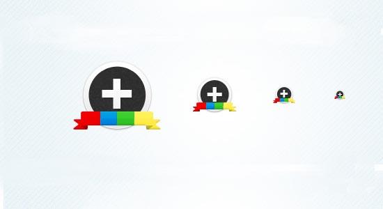 google+ circular icon set