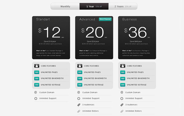 Strada Pricing Table PSD UI Web Element