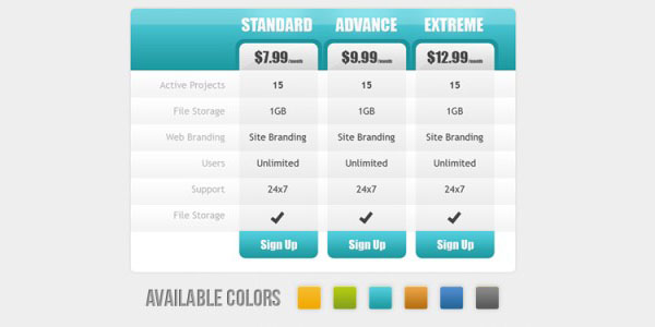 30 cool pricing tables psd for Table design web