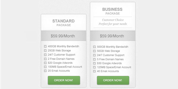 Clean & Simple Pricing Table PSD