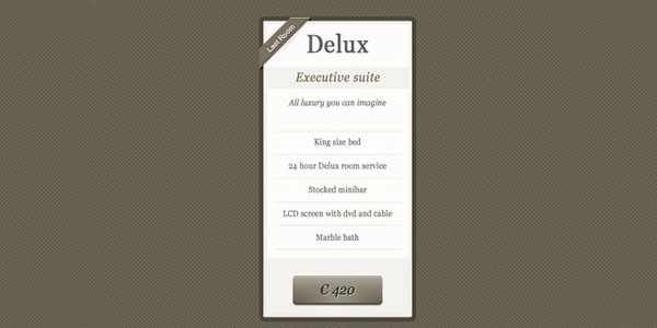 Classic Pricing Table PSD