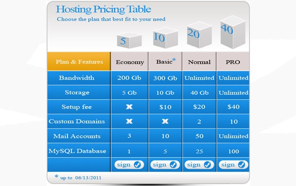 30+ Cool Pricing Tables PSD - price chart templates