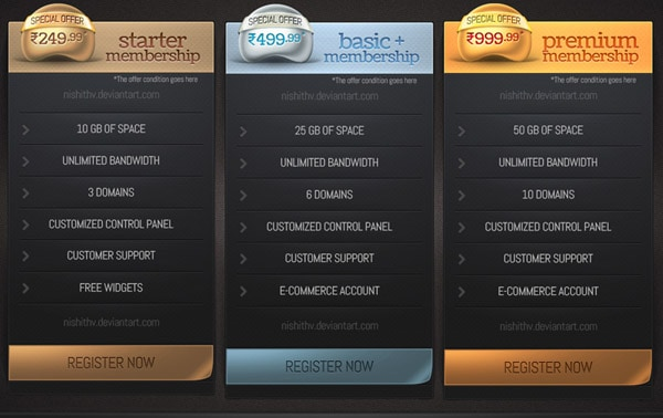 30+ Cool Pricing Tables PSD - price list design template