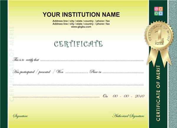 Free Certificate Templates - certificate design format
