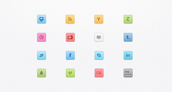 Candy Social Media Icons and Buttons