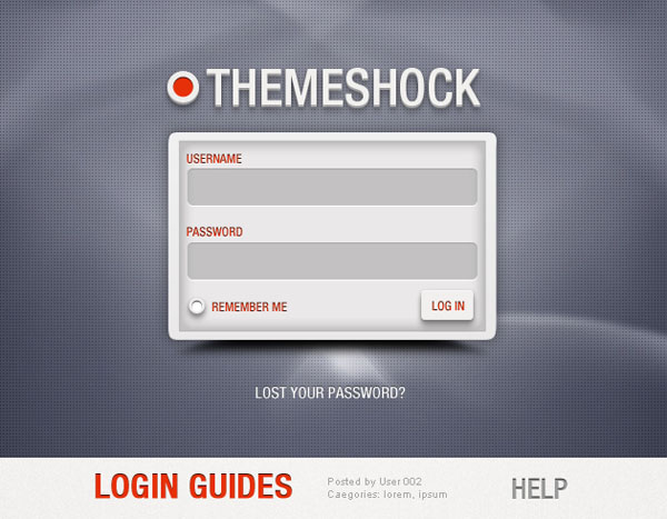 Custom WordPress login PSD