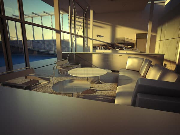 Fukaya House Interior At Sunset