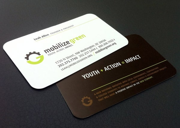 Mobilize Green Business Card Design