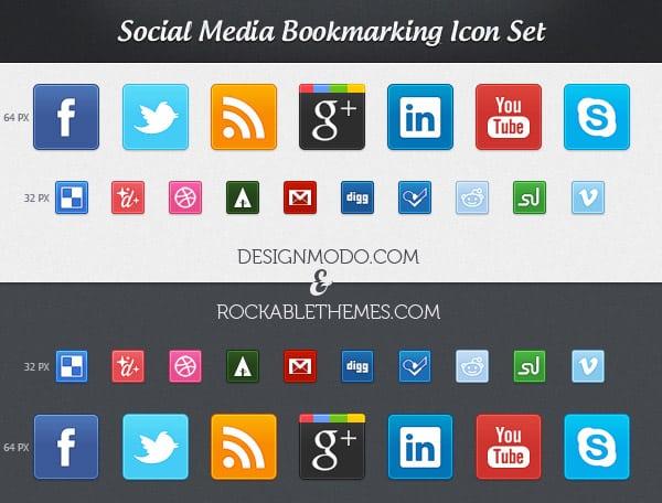 Social Media Bookmarking Icon Set