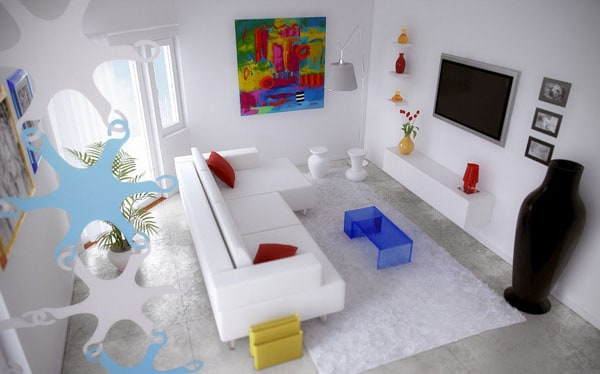 White theme living room with art wall decor
