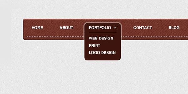 textured navigation menu