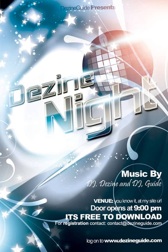 Free Dezine Night Flyer Poster Template
