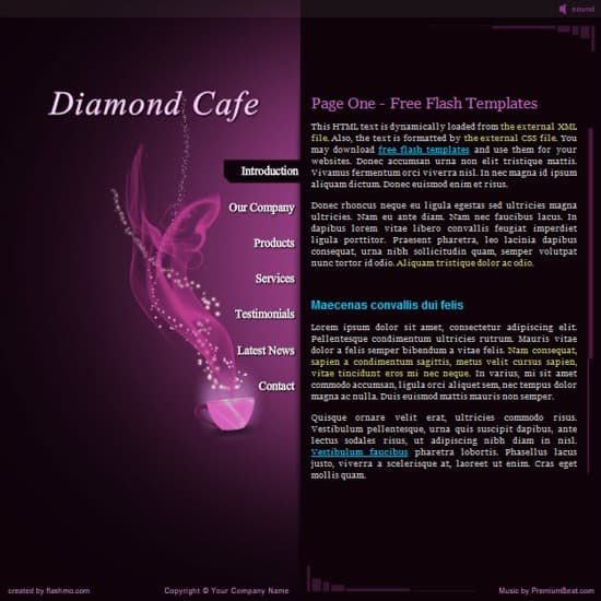 flash cafe website template
