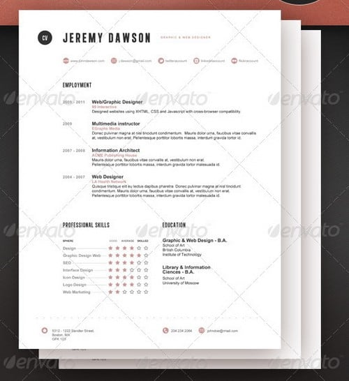 Contemporary resume templates free