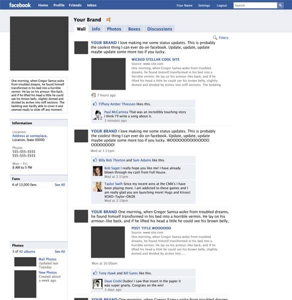 Mock up Facebook Fanpage PSD