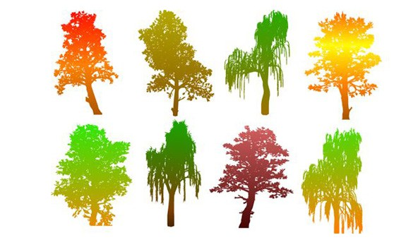 8 Colorful Autumn Tree Silhouettes