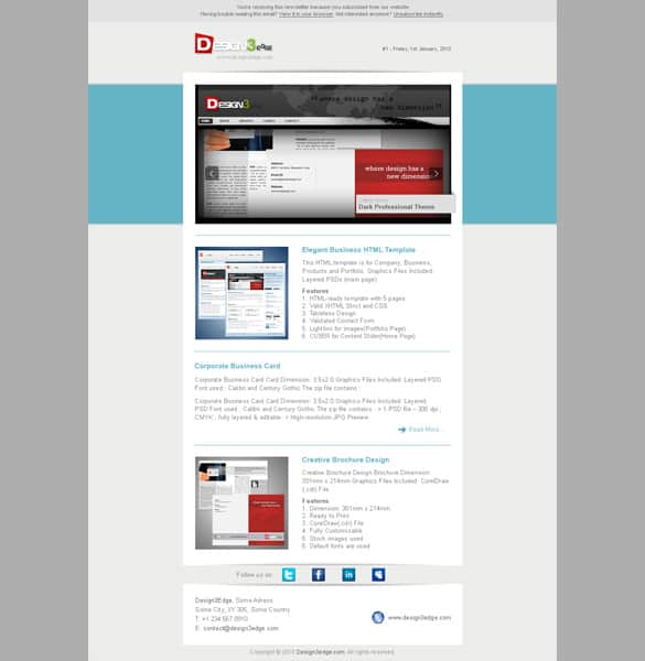 Elegant Email Newsletter Template PSD