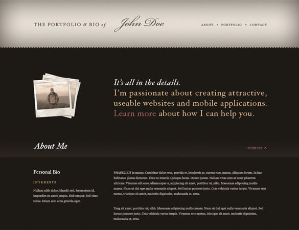 Classic Vintage Typography Website