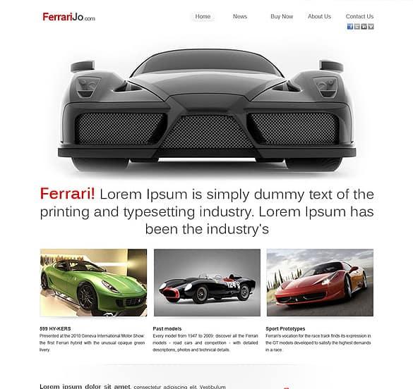 Ferarri Jo Homepage + inner page PSD Design