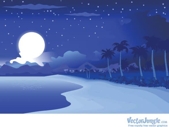 Tropical Night Beach Vector Illustration