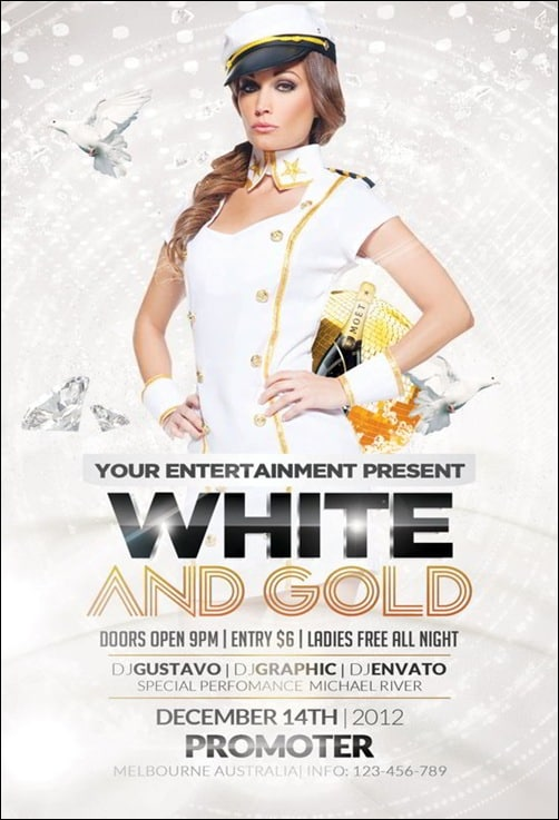 White-and-Gold-Party flyer templates