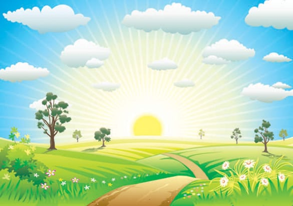 Road to the Sun Spring Vector scene