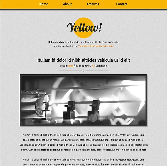 Yellow minimalistic blog template in photoshop