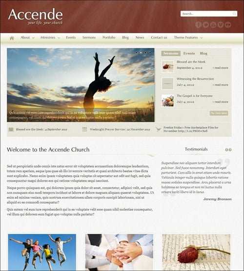 accende wordpress church themes