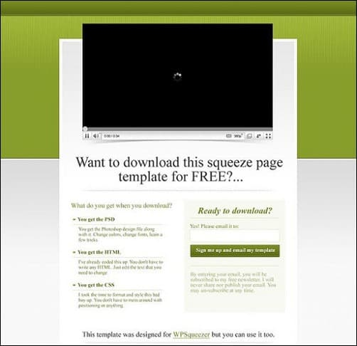 dash of green landing page templates