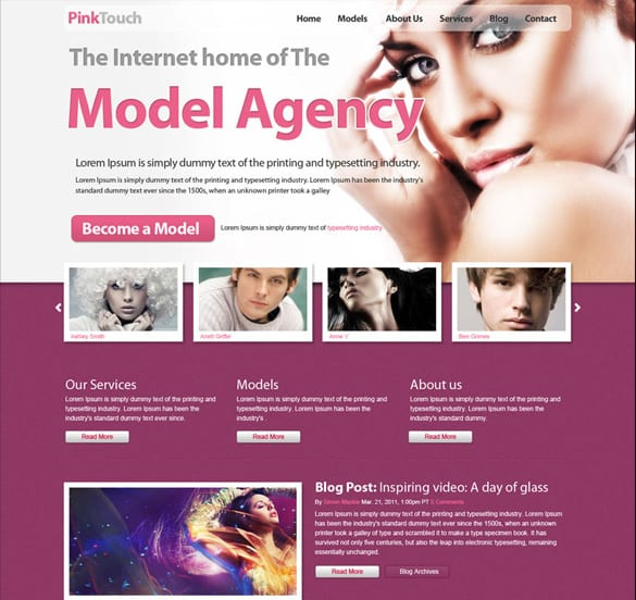 Model Agency Pinktouch Homepage PSD Design