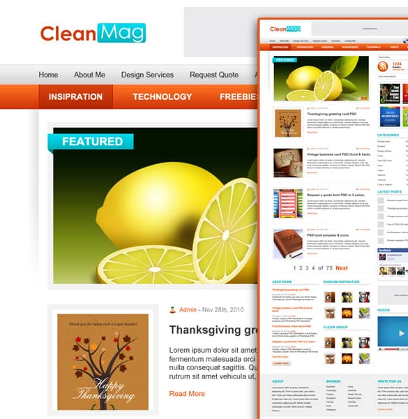 Clean wordpress layout .psd
