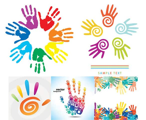 Colorful Painted Handprints Vector