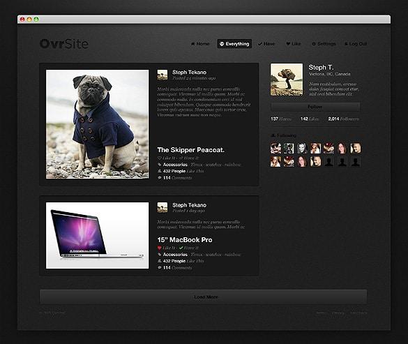 Dark Website Layout PSD