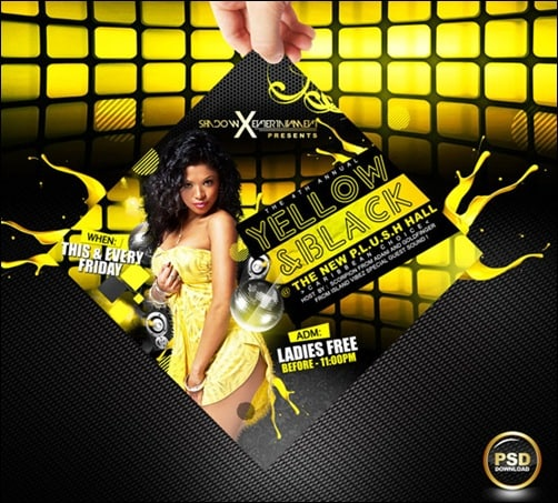 yellow and black party flyer templates
