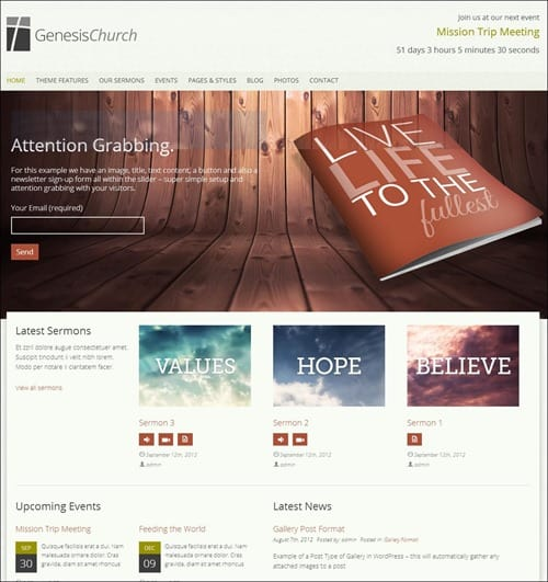 genesis church website templates