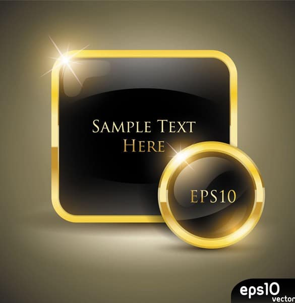 Set of Glossy Gold Vector Frames