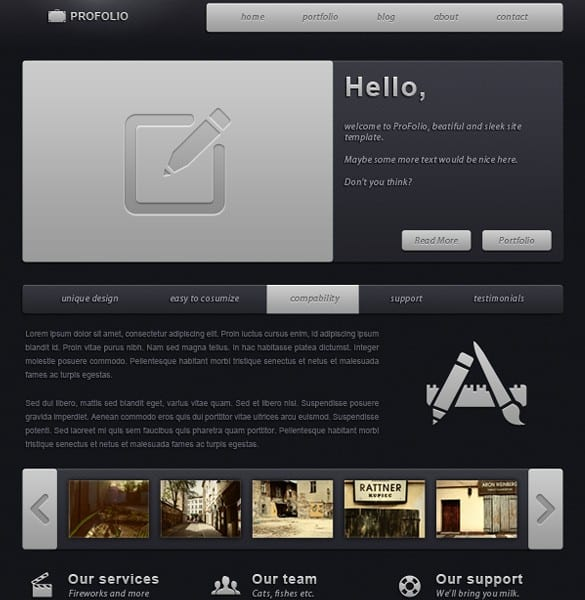 Modern Portfolio Theme 6 Pages PSD