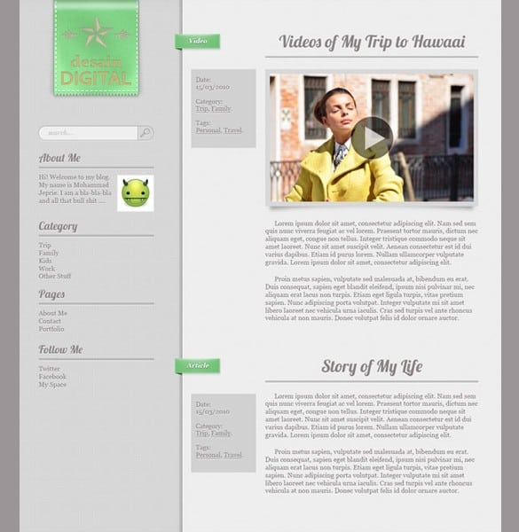 Minimalist Tumblr Theme Personal Blog Template